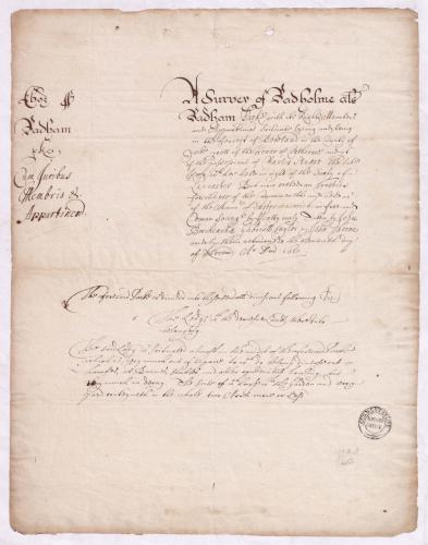 First page of the detailed survey of 1651 (TNA E 317 Yorks 49), reproduced by kind permission of The National Archives
