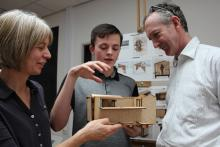 Cathy and Ralph Assheton (chair of LPS) plus Matthew, one of the architecture students with his shepherd's hut design.